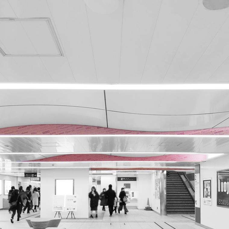 多摩モノレール 立川南駅 天井装飾 デザイン とりさわ あんじゅ